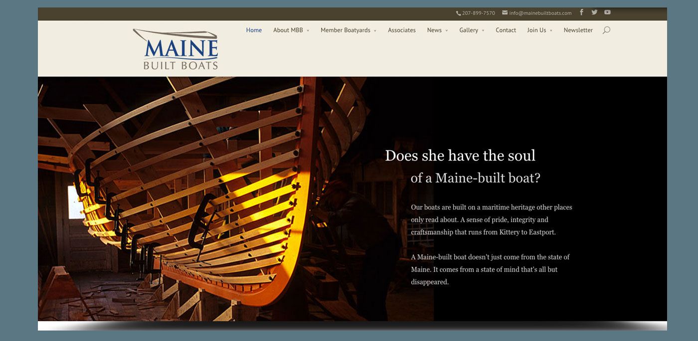 Maine Built Boats website by Rhumbline Communications